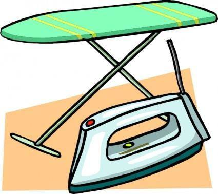 Ironing Board And Iron clip art