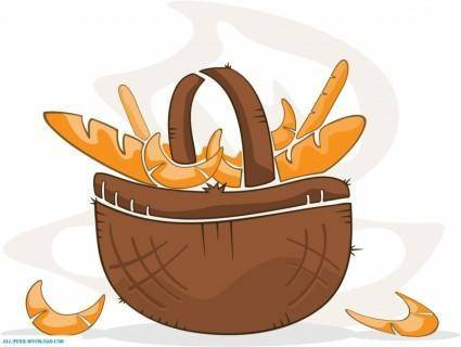 free vector Basket With Pastry Vector