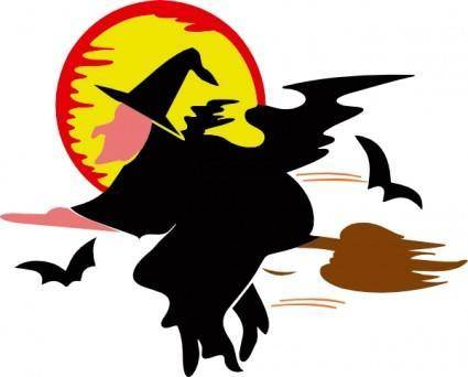 free vector Lakeside Witch Over Harvest Moon clip art