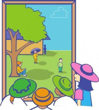 Kids Looking Out Window clip art