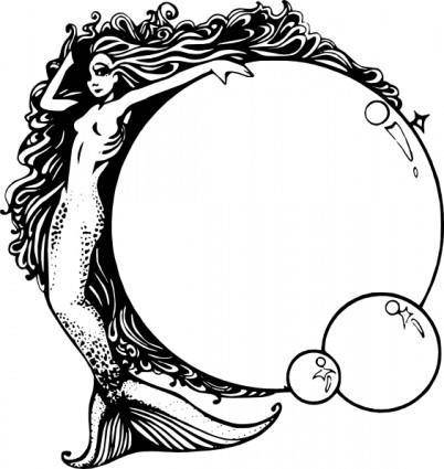 Mermaid With Bubbles clip art