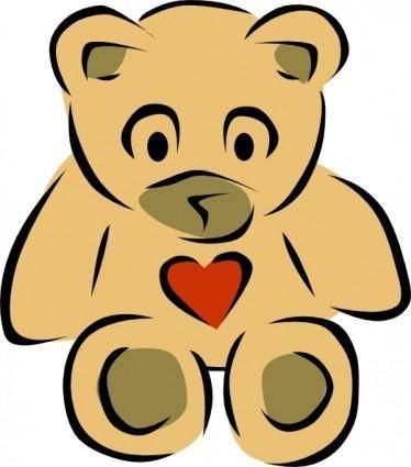 free vector Stylized Teddy Bear With Heart clip art