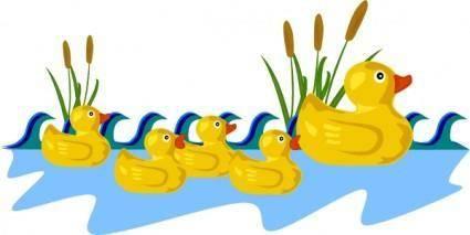 free vector Rubber Duck Family Swimming clip art
