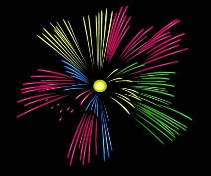 free vector Mulit Colour Fireworks clip art