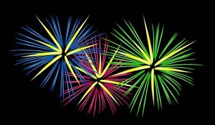 free vector Three Colour Fireworks clip art