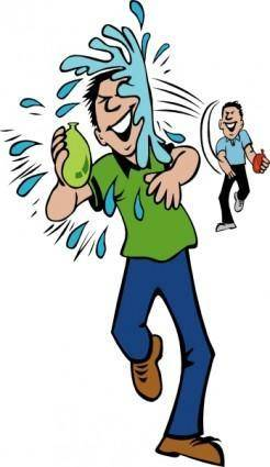 Water Balloon Throw And Hit clip art