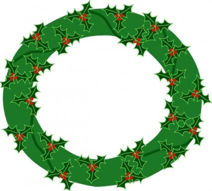 free vector Evergreen Wreath With Large Holly clip art