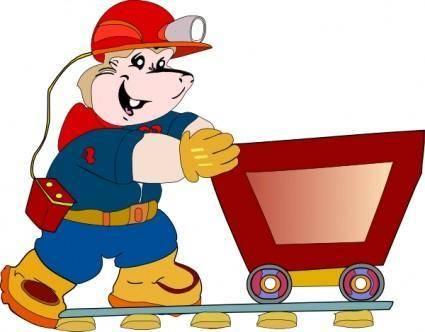free vector Coal Miner Pushing Cart clip art