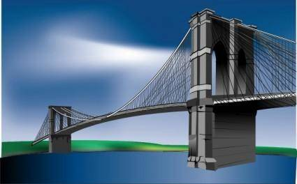 free vector Brooklyn Bridge clip art