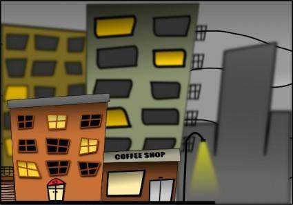 free vector Cartoon City Street Night clip art