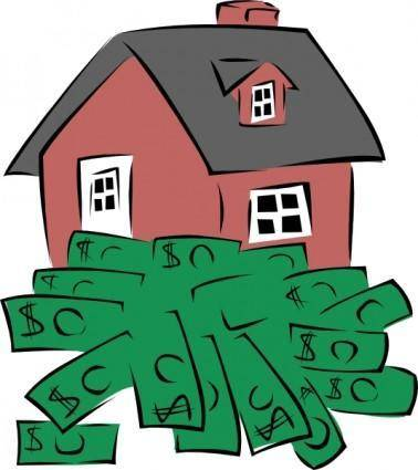 free vector House Sitting On A Pile Of Money clip art