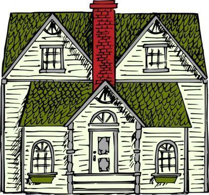 Victorian House Coloured clip art