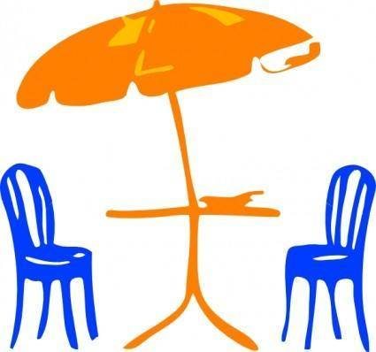free vector Seats With Umbrella clip art
