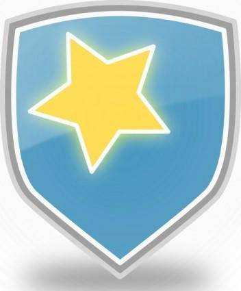 Rachaelanaya Blue Shield Star Icon clip art