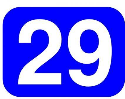 Blue Rounded Rectangle With Number 29 clip art