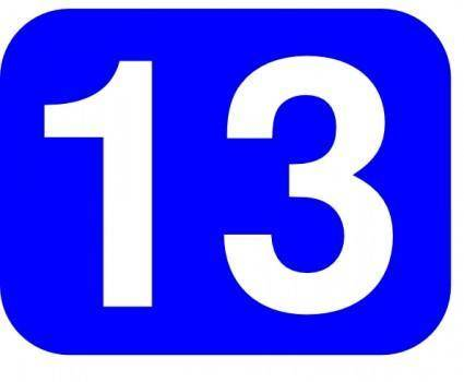 Blue Rounded Rectangle With Number 13 clip art