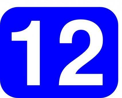 Blue Rounded Rectangle With Number 12 clip art