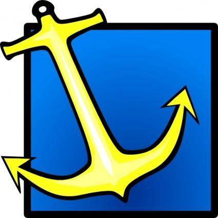 Yellow Anchor Blue Background clip art