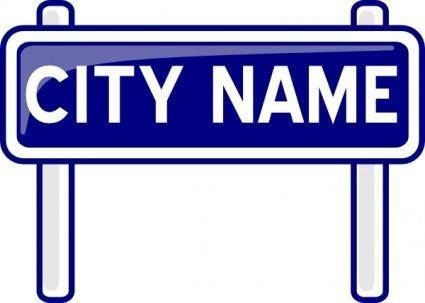 City Name Plate Road Sign Post clip art