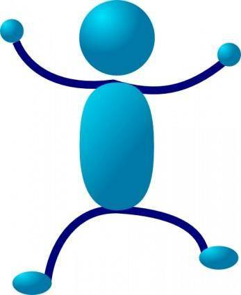 Hugging Blue Stick Man clip art