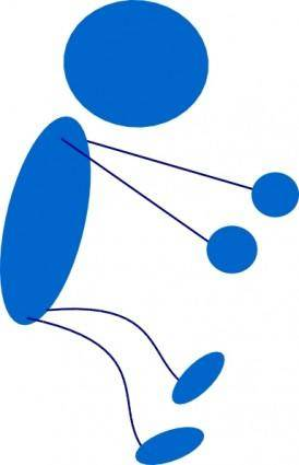 Sitting Blue Stick Man clip art