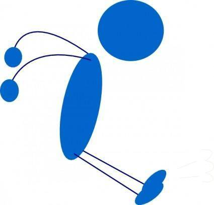 Landing Blue Stick Man clip art