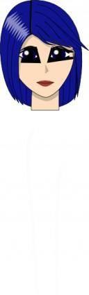 Blue Hair Girl  Head Face clip art