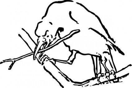 free vector Bird With Twig clip art