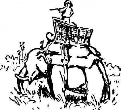 Hunting On The Elephant clip art