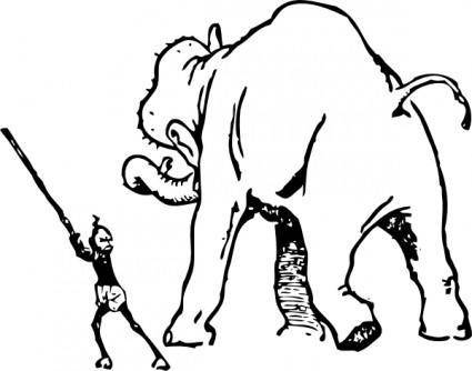 Elephant Gets A Whacking clip art
