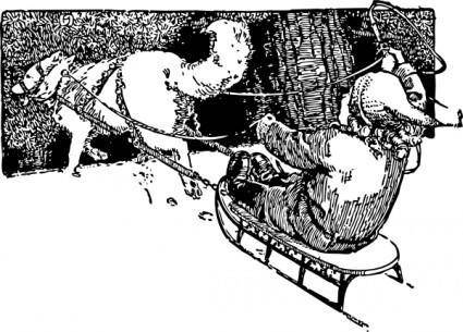 Wolf Pulling Sled clip art