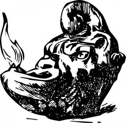 Antique Rhinoceros Candle Lamp clip art
