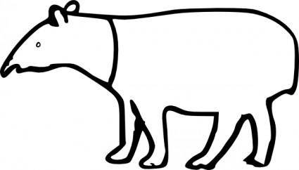 free vector Rumpeltux Malayan Tapir clip art