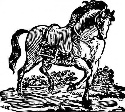 Woodcut Horse clip art