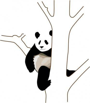 Panda On A Tree clip art
