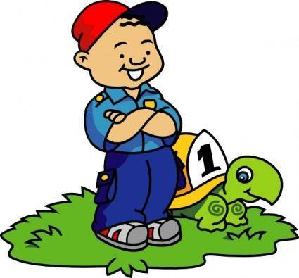 free vector Boy And Turtle clip art