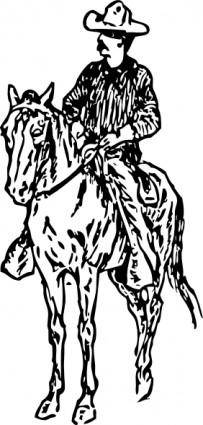 Cowboy On Horse clip art