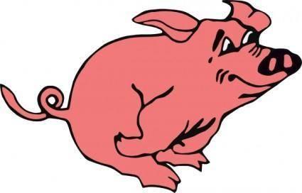 free vector Running Pig clip art