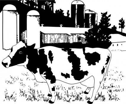 free vector Cow On Farm clip art