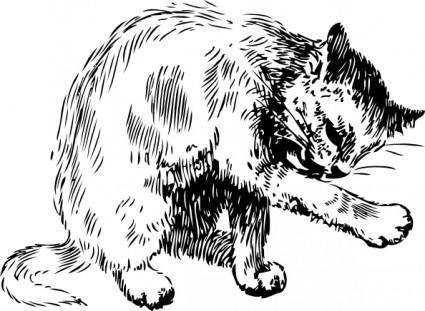 Cat Washing Itself clip art