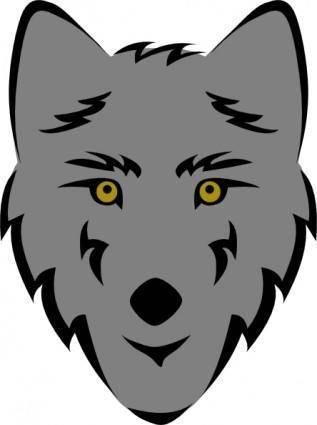 Simple Stylized Wolf Head clip art