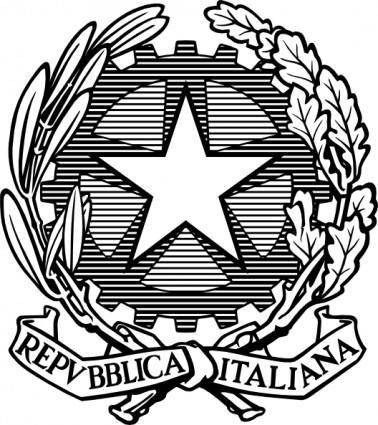 Black And White Italian Republic Emblem clip art