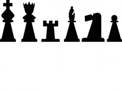 Black Chess Pieces Set clip art