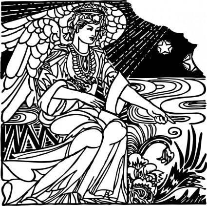 free vector Angel In The Garden clip art