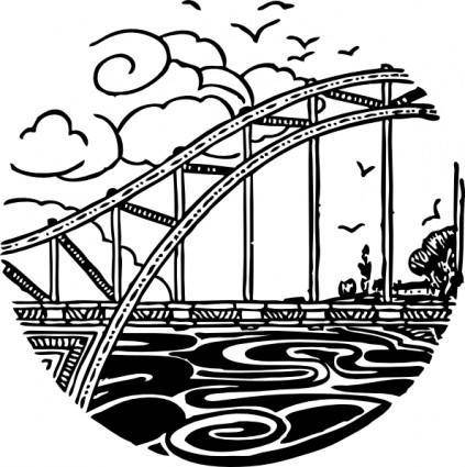 free vector Bridge Over River clip art