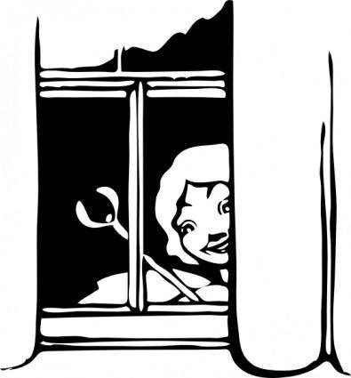 free vector Fairy Peeking In Window clip art