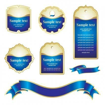 Blue ribbon tag vector