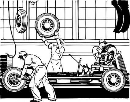 Fastening The Wheels clip art