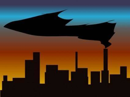 Witchlines Skyline With Black Smoke clip art