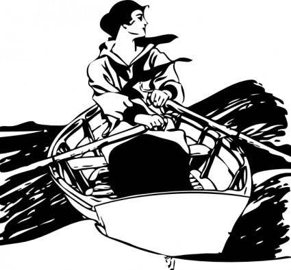 Girl In Rowboat clip art